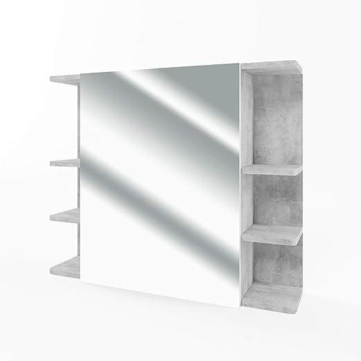 R Cuarto de ba/ño Espejo DOMTECH Dom Tech Espejo de ba/ño con estantes y LED Iluminaci/ón Roble Sonoma Armario con Espejo