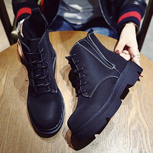 KPHY-Biskuitboden Dick Stiefel unten Martin Stiefel Dick der Wind Retro Stiefel warme und weiche Harajuku 39 schwarze Stiefel. - 9bce61
