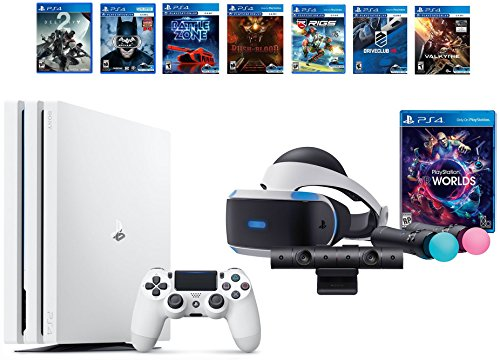 PlayStation VR Launch Bundle 8 Items:VR Launch Bundle,PlayStation 4 Pro 1TB Destiny 2 Bundle,6 VR Game Disc Until Dawn: Rush of Blood,EVE: Valkyrie, Battlezone,Batman: Arkham VR,DriveClub,Battlezone by Sony VR