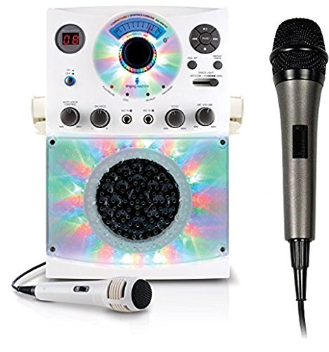 Bundle Includes 2 Items - Singing Machine SML385BTW Top Loading CDG Karaoke System with Bluetooth, Sound and Disco Light Show (White) and Singing Machine SMM-205 Unidirectional Dynamic Microphone with