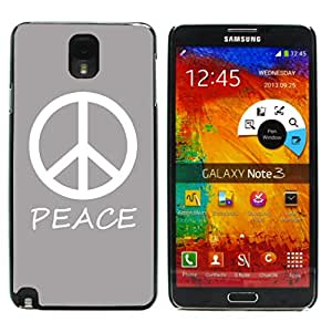 Graphic4You Peace Sign Design Hard Case Cover for Samsung Galaxy Note 3 (Gray)