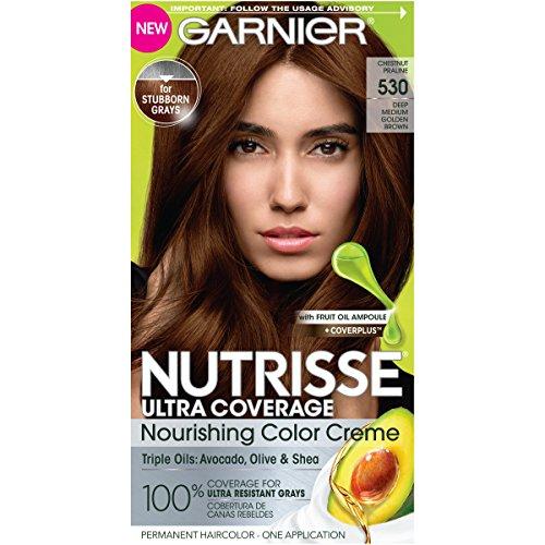 Garnier Nutrisse Ultra Coverage Hair Color, Deep Medium Golden Brown (Chestnut Praline) 530 (Packaging May Vary) (Shades Hair Gray)