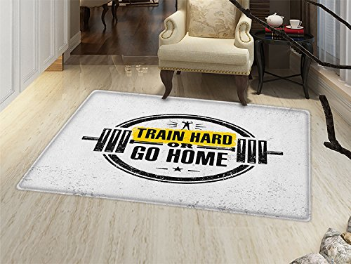 De Barbell Lis Fleur (smallbeefly Fitness Door Mats Area Rug Train Hard or Go Home Stamp Like Design Strong Sportsman Barbell Circle Floor mat Bath Mat for tub Black White Yellow)