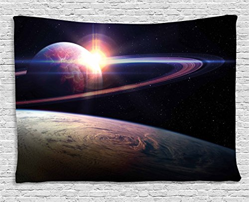 Ambesonne Galaxy Tapestry Wall Hanging, Sunset in Outer Space Universe Saturn View from Planet Earth Atmosphere in Spaceship, Bedroom Living Room Dorm Decor, 60 W X 40 L Inches, Black Blue ()