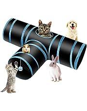 PHYLES Kattleksak, katttunnel, boll-katttunnel, husdjurstunnel, 3-vägs husdjursspunnel, tub, katter, valpar, kaniner och små djur