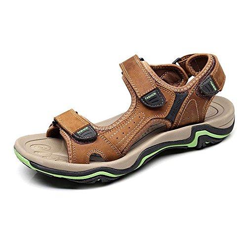 antiscivolo gomma da per pelle da suola spiaggia vera passeggio BINODA Color da Marrone Sandali EU Casual Dimensione Marrone in esterni Sandali 40 in scarpe uomo 0wqOx7