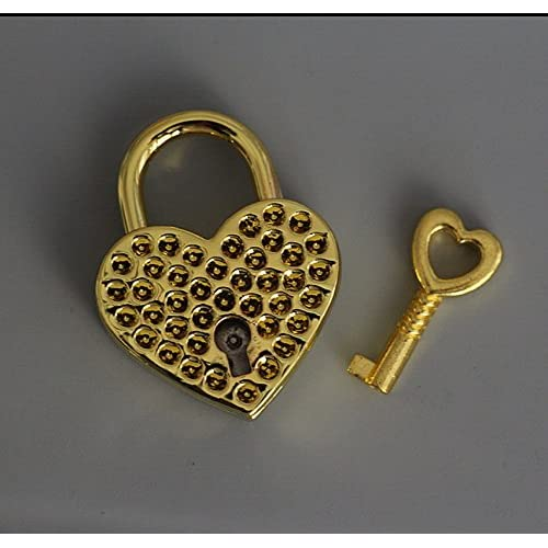 1 Pieces Vtg old look Heart Shaped Padlock & Skeleton Key Wedding Bow Lock Gold Color Valentine's Day Gift