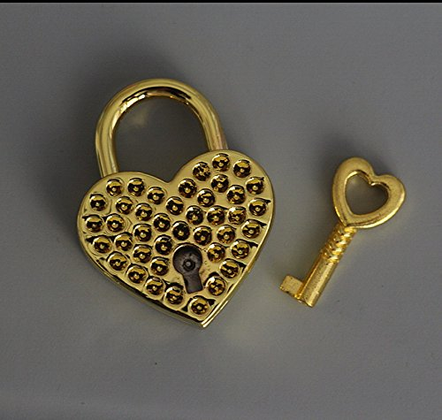 Gold Heart Padlock - 1 Pieces Vtg old look Heart Shaped Padlock & Skeleton Key Wedding Bow Lock Gold Color Valentine's Day Gift