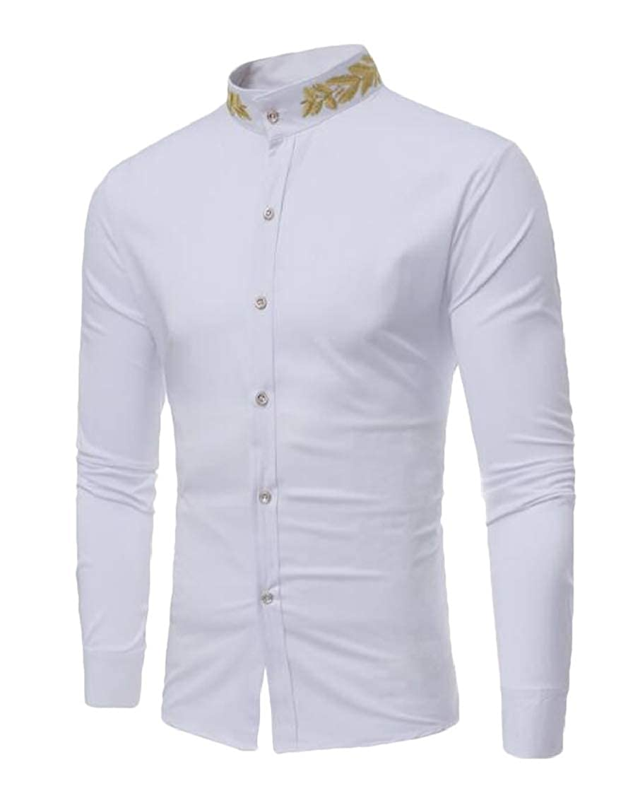 Spirio Men Casual Vogue Stand Collar Long Sleeve Button Down Shirt