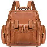 Luggage Depot USA, LLC Muiska 17 inch Leather Laptop Backpack, Saddle, One Size