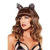 Leg Avenue Women's Venice Lace Cat Ears with Organza Bows, Black, One Size