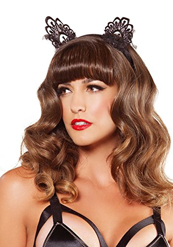 Leg Avenue Women's Venice Lace Cat Ears with Organza Bows, Black, One Size ()