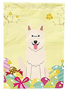Decorative Flag for Garden Easter Eggs White German Shepherd Welcome Holiday Garden Flag 2-Sides Outdoor Yard Flags