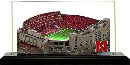 Home Fields Nebraska Cornhuskers Memorial Stadium, Small Lighted in Display Case