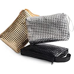 Zipper Storage Bag - Pouch For Jewelry, Small Tools, Makeup, Toiletries, Cosmetics, Office, Travel, Car - Set Of 3 (Chic)