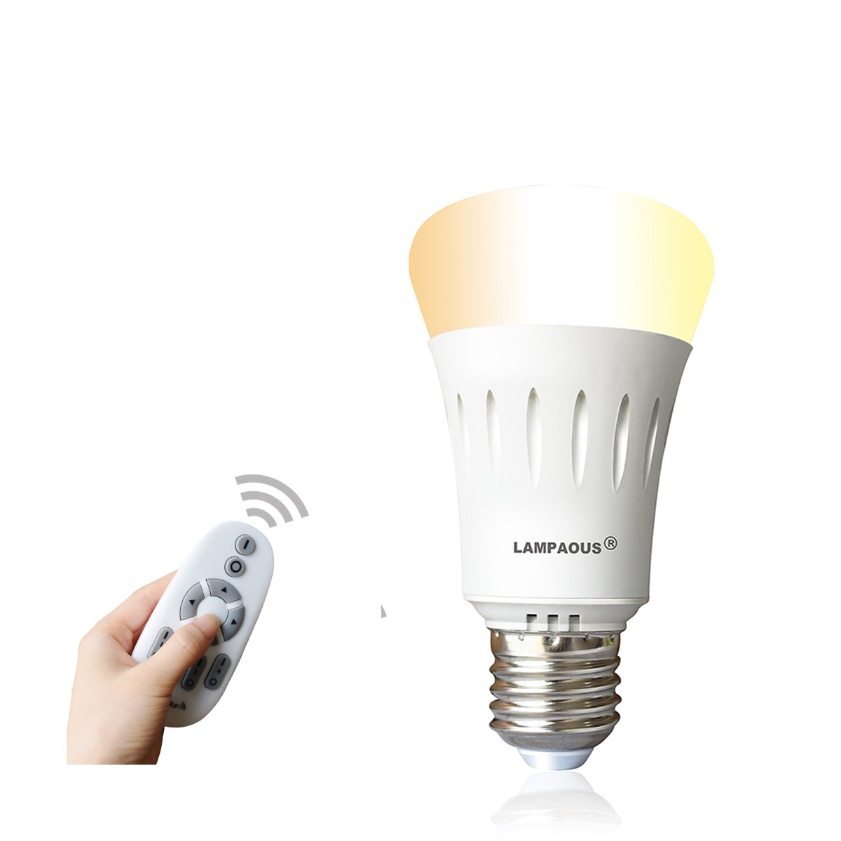 LAMPAOUS Remote Control LED Light Bulbs,Color Temperature Adjustable Dim to Bright 60 Watt Incandescent Equivalent for Desk Lamp Table Lamp Beside Lamp Ceiling Pendant Lamp (Smart Bulb and Control)