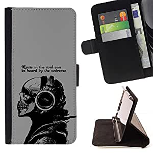 DEVIL CASE - FOR Samsung Galaxy S4 IV I9500 - Cool Music In The Soul Message - Style PU Leather Case Wallet Flip Stand Flap Closure Cover