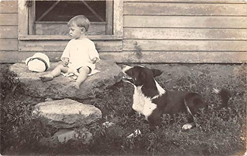 People and Children Photographed on Postcard, Old Vintage Antique Post Card Child with a dog Unused