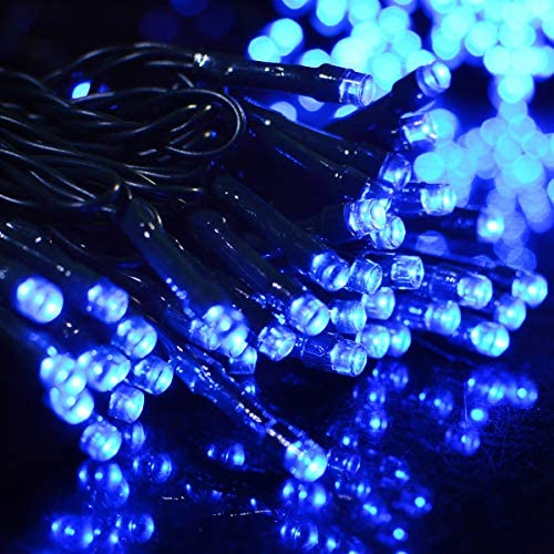 Vmanoo Solar Christmas Lights, 72ft 22m 200 LED 8 Modes Solar String Lights for Outdoor, Indoor, Gardens, Homes, Party, Wedding, Halloween Decorations, Waterproof Blue-2 Pack
