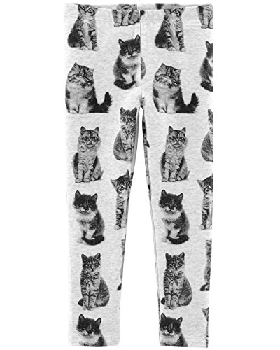 Osh Kosh Girls' Kids Full Length Legging, Grey cat 8