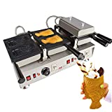 Taiyaki Fish Waffle Maker 110V | ALDKitchen 6 pcs Commercial Use Jam or Ice Cream Waffle Maker | Stainless Steel Taiyaki Maker (Open mouth x 4) Review