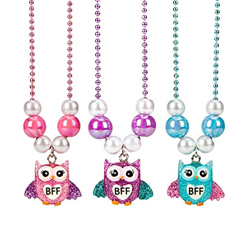 SkyWiseWin Friendship Necklace for Girls, 3 Pack Cute Colorful BFF Necklace Set for Kids Childrens, Animals Party Favors Owl Pendant