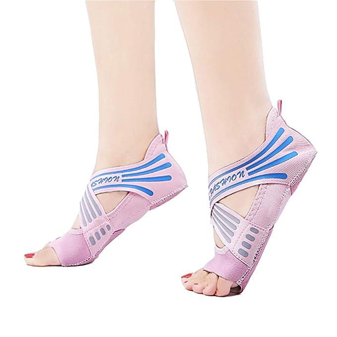Amazon.com: Ladovin Calcetines de yoga para mujer, sin dedos ...