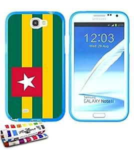 Carcasa Flexible Ultra-Slim SAMSUNG GALAXY NOTE 2 / N7100 de exclusivo motivo [Bandera Togo ] [Azul] de MUZZANO  + ESTILETE y PAÑO MUZZANO REGALADOS - La Protección Antigolpes ULTIMA, ELEGANTE Y DURADERA para su SAMSUNG GALAXY NOTE 2 / N7100