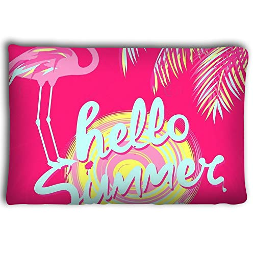 Mint 2030 - Dengtashi Pillow Cases hot Pink Banner Mint Color Hello Summer Hand Drawing Lettering Sun Pink Palm Leaves Flamingo Art Deco Style Pink Banner 2030inch