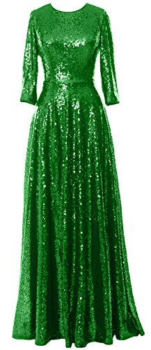 Evening Elegant the Sleeve Sequin Mother Vintage Dress of Green MACloth 3 Gown 4 Bride dqwxXg
