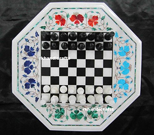 "15"" Octagon White Marble Chess Cum Coffee Table Top Inlay Multi Stones Flower Art"