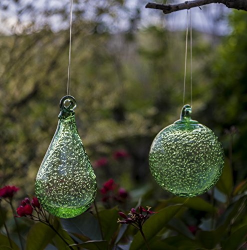Artisan Crafts and Design Glow in The Dark Hand-Blown Round and Teardrop Glass Ornaments Indoor and Outdoor Garden Decor (Set of 2)