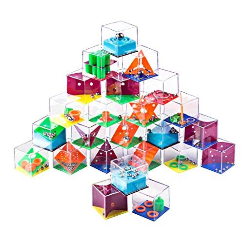 Petforu Maze Puzzle Box, 24pcs Brain Teasers Steel Ball Maze Game Kids Party Favors Adult Decompression Toys