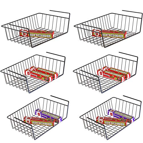 Under Shelf Basket, iSPECLE 6 Pack Black Wire Rack, Slides Under Shelves For Storage, Easy to Install