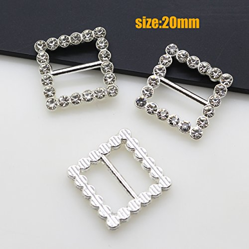 (New 25pcs Alloy square crystal rhinestone buckles Slider for DIY)