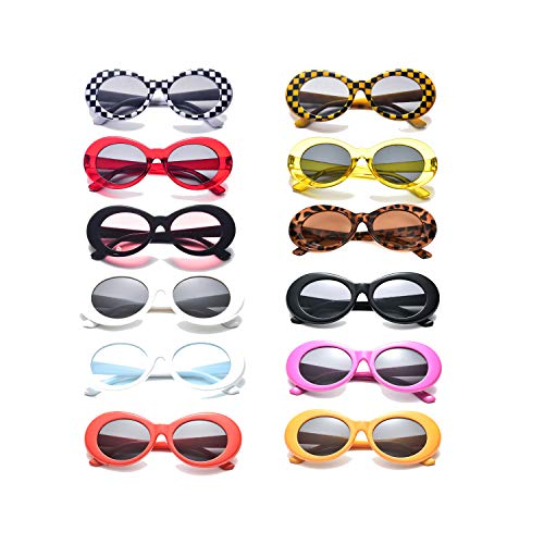 Neon Retro Oval Clout Goggles 12 Colour Wholesale 80s UV Coating Party Sunglasses (12 Pack) ()