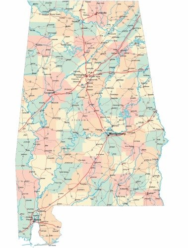 Alabama State Map By County.Amazon Com Alabama Road Map Glossy Poster Picture Photo County City