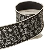 Cheap Black and White Chalkboard Style Merry Christmas Wording Wired Christmas Ribbon, 4 Inch X 5 Yards