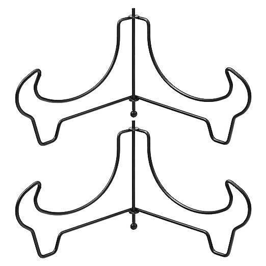 Hetoco Caballete para exhibir Cuencos Platos y Platos hondos Metal 2 Unidades Medium
