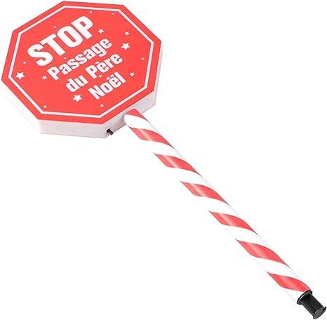 Wakauto Navidad Rojo Señal de Stop Poste Luz Solar hasta ...