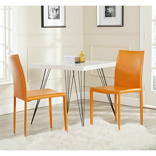 Safavieh Home Collection Karna Modern Orange Dining Chair (Set of 2) (Collection Leather Chair)