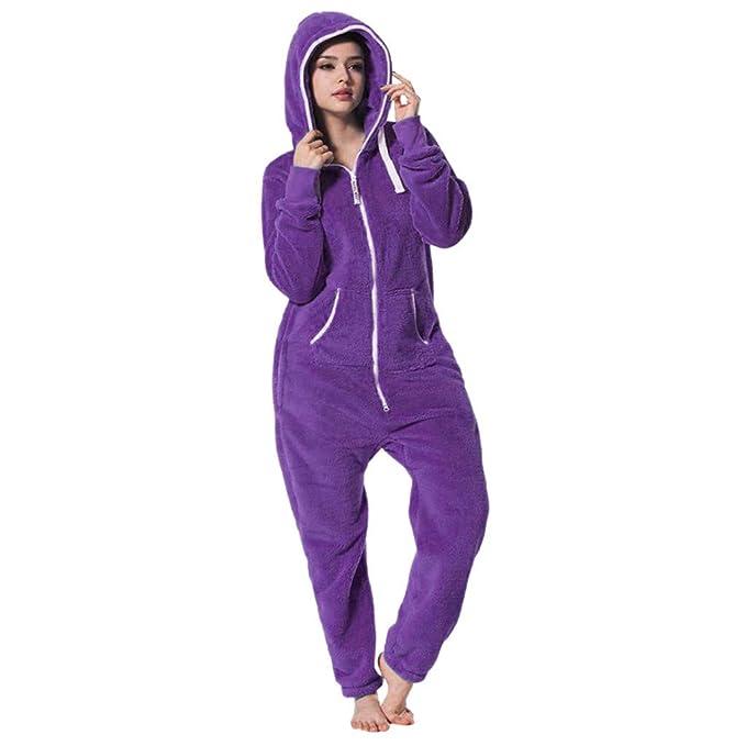 Damas para Mujer con Capucha Onesie Todo en Pijama Mono una Ropa de Dormir Pijamas