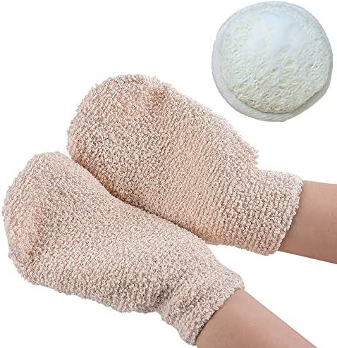 Exfoliating Bath Gloves for Shower Body Scrubbing Glove Natural Loofah Exfoliating Pads Face Wash Sponge for Men & Women Deep Clean & Invigorate Your Skin,Set of 3