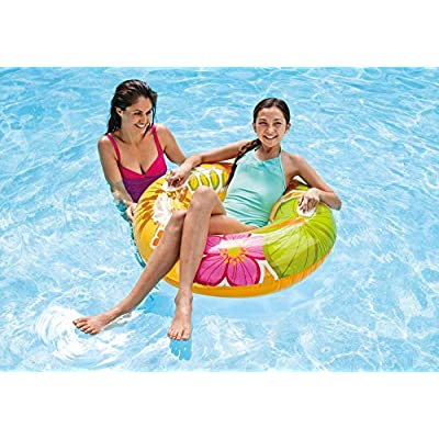 Intex Groovy Color Inflatable Tropical Designs Transparent Tube Raft: Toys & Games
