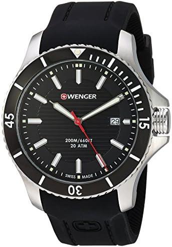 Wenger Men s 0641.102 Sea Force 3H Analog Display Swiss Quartz Black Watch