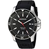 Wenger Men's Seaforce Stainless-Steel Swiss-Quartz Watch with Silicone Strap, Black, 21 (Model: 01.0641.117)