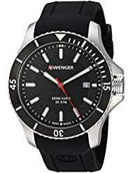 Wenger Mens Seaforce Swiss Quartz Stainless Steel and Silicone Casual Watch, Color:Black (Model: 01.0641.117)