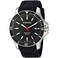 Wenger Men's 'Seaforce' Swiss Quartz Stainless Steel and Silicone Casual Watch, Color:Black (Model: 01.0641.117)