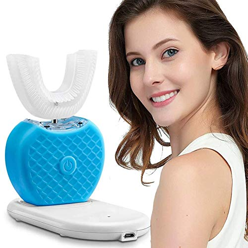 XQHLD UShaped Electric Toothbrush Automatic Bubbling 360 Degree Cleaning Teeth Sonic Mouth Cleaner 15s Omnidirectional Brushing Teeth, Blue