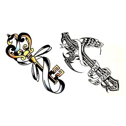 Oottati Pequeño Lindo Tatuaje Temporal Cruz De Llave (2 Hojas ...
